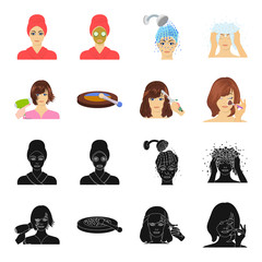 Salon, care, hygiene and other web icon in black,cartoon style. Hands, hairdresser, beauty, icons in set collection.