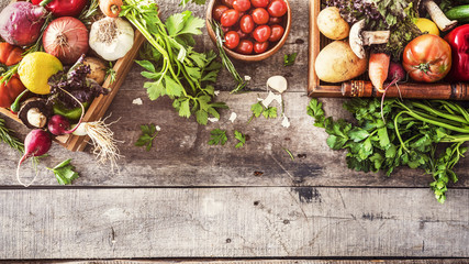 Aluminium Prints Vegetables Organic vegetables healthy nutrition concept on wooden background