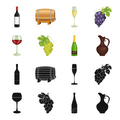 A glass of red wine, champagne, a jug of wine, a bunch. Wine production set collection icons in black,cartoon style vector symbol stock illustration web.