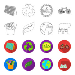 A processing plant, flowers in a pot, a green leaf, a planet Earth.Bio and ecology set collection icons in outline,flet style vector symbol stock illustration web.