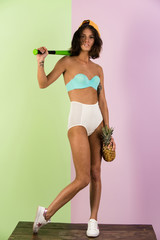 summer activity and sport, girl with banana, grapefruit, pineapple