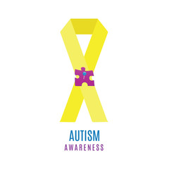 Autism awareness poster with a puzzle piece pinned to a ribbon. Social interaction and communication disorder. Solidarity and support symbol on white background. Medical concept. Vector illustration.