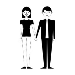 couple of young people characters vector illustration monochrome dotted line image