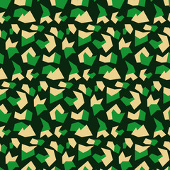 Military background of soldier green camouflaging seamless pattern. Abstract vector camo texture of geometric shapes for army clothing.