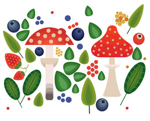 Vector flat style vector forest mushrooms and forest element. Ornamental, traditional with forest berries and mushroom, strawberries, deep, blueberries, mountain ash, cranberries, leaf, nuts, dot.