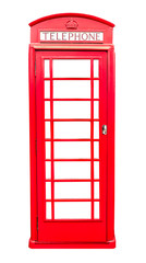 Red telephone box isolated on white background with clipping path