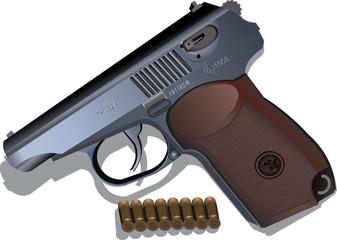 Makarov pistol vector illustration of a firearm isolated on white background