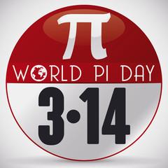 Commemorative Pin for World Pi Day Celebration in March 14, Vector Illustration
