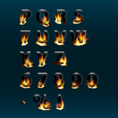 Hot letters and numbers on fire. Alphabet.Fire burning vector font. Part 2