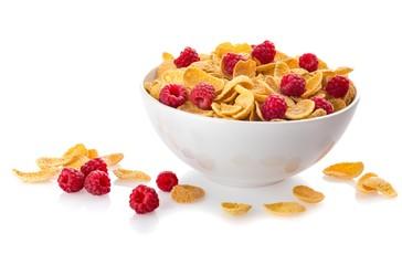 Bowl of Cornflakes and Raspberries