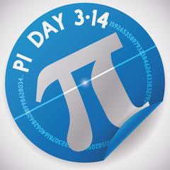 Sticker with Pi Symbol and Value for Pi Day Celebration, Vector Illustration