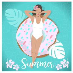 Beautiful girl laying in a Inflatables Donut Pool Float. Summer tropical poster/background. Flat character design set