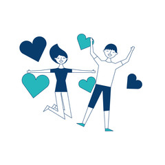 couple of young people in love heart romantic vector illustration green and blue design
