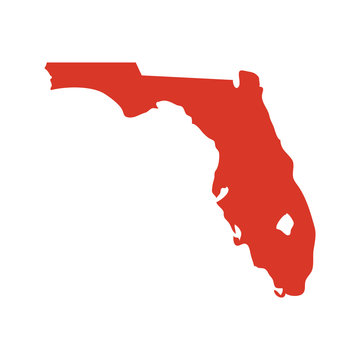 State of Florida vector map silhouette. Outline NY shape icon or contour map of the State of Florida.