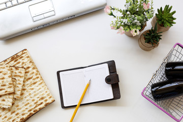 Items from the Jewish holiday of Passover in an office environment