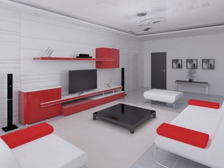 Mock up a fashionable living room with hi-tech furniture and a light background.