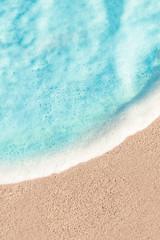 Soft Wave of Blue ocean in summer. Sandy Sea Beach  Background