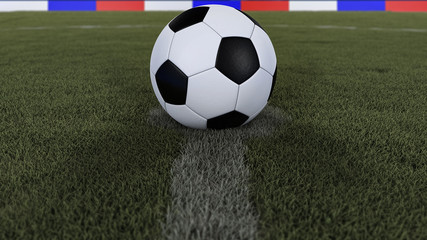 soccer / football classic ball in the center of the field grass with depth of field defocused, 3D illustration