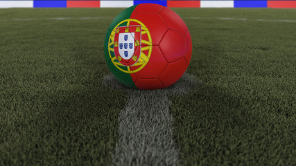 soccer / football classic ball in the center of the field grass with painting of the Portugal flag with depth of field defocused, 3D illustration