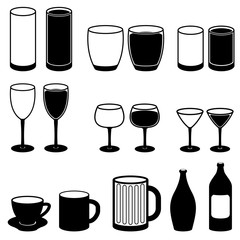 Drink Icons Set Cup Coffee Beer Wine Bottle