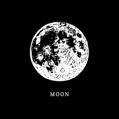 Moon image on black background. Hand drawn vector illustration