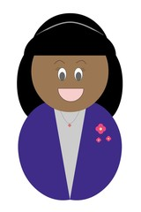 Garota negra feliz vestindo roupa roxa
