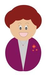 Mulher branca e ruiva, fellz, sorrindo e vestindo roupa roxa