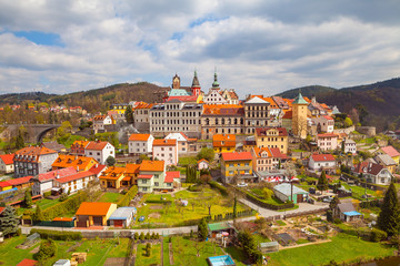 Small unique town Loket with castle, close to Karlovy Vary, Czech Republic. Summer day panoramic view from rock.