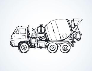 Concrete mixer. Vector drawing