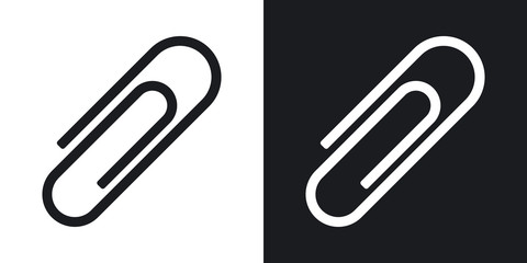 Vector paper clip icon. Two-tone version on black and white background