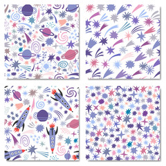 Vector space seamless pattern background set