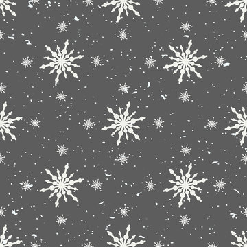 Snowflakes blue seamless background. Geometric natural flakes shapes elements. Greetings banner winter holiday. Vector illustration EPS10