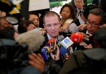 "Ricardo Anaya, presidential candidate for the National Action Party, leading the left-right coalition ""For Mexico in Front"", speaks to the media after attending an event in Mexico City"