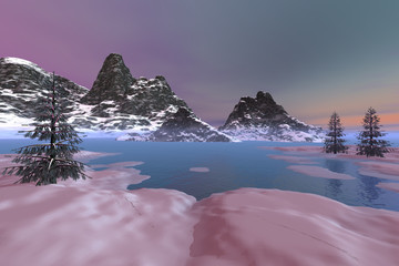 Afternoon view on the lake, an alpine landscape, snowy mountains, beautiful trees and a colored sky.