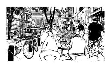 Printed roller blinds Art Studio San Francisco, historic street and tramway