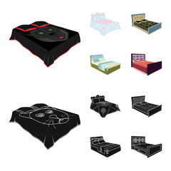 Different beds cartoon,black icons in set collection for design. Furniture for sleeping vector isometric symbol stock web illustration.