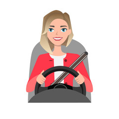 woman driving a car. woman clothing in casual cloth
