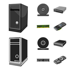 System unit, memory card and other equipment. Personal computer set collection icons in cartoon,black style vector symbol stock illustration web.