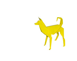Origami Dog isolated on white. the dog is standing or barking
