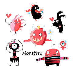 Vector Halloween set of different monsters isolated