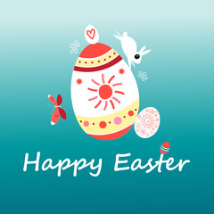 Vector Easter card with a rabbit and eggs
