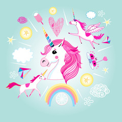 Vector cartoon set of unicorns and fabulous objects.