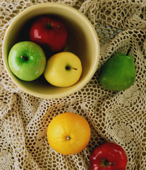 Fruit in a Bowl with Vintage Background