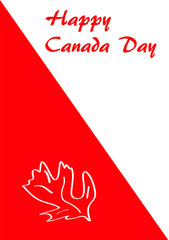 Grußkarte in rot-weiß mit Blatt zum Nationalfeiertag, Vector