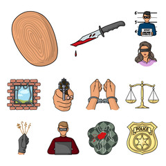 Crime and Punishment cartoon icons in set collection for design.Criminal vector symbol stock web illustration.