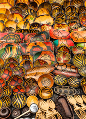 Colorful Patterns on Plates and Bowls - Wooden Souvenirs from Africa