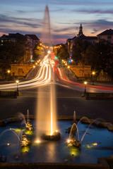 abendstimmung am Friedensengelbrunnen in München