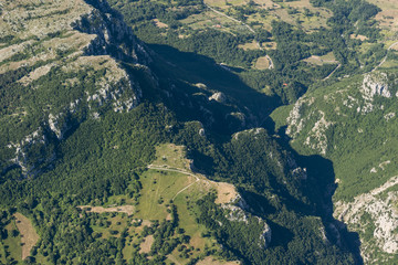 Aerial image panorama of mountain landscape near Pietraroja, Monte Nutria
