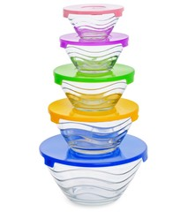 Stack of  glass food containers with colorful plastic lid isolated on white background.