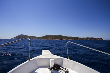 On boat to Bisevo island, Croatia